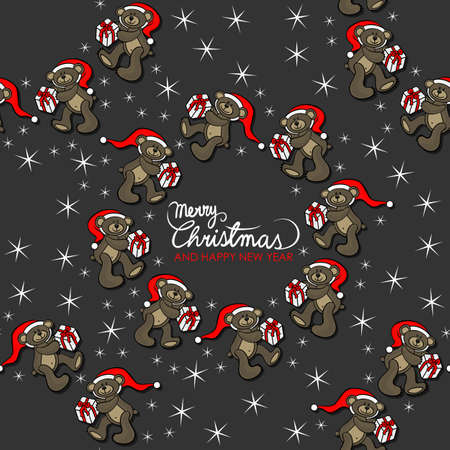 teddy wreath: brown animal toy teddy bears with Santa Claus hat and Christmas gift seasonal decorative wreath Christmas seamless pattern with wishes in English on a dark background