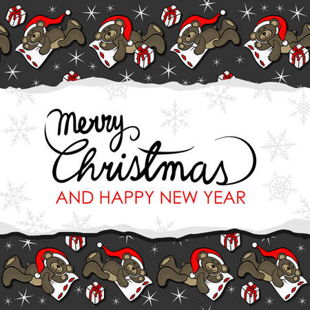 ditch: sleeping brown animal toy teddy bear with Santa Claus hat and Christmas gift seasonal decorative card with torn paper with wishes in English on a dark background Illustration
