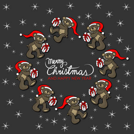 teddy wreath: brown animal toy teddy bears with Santa Claus hat and Christmas gift seasonal decorative wreath Christmas card with wishes in English on dark background Illustration