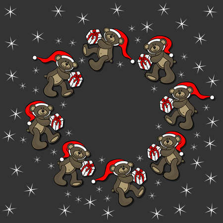 teddy wreath: brown animal toy teddy bears with Santa Claus hat and Christmas gift seasonal decorative wreath Christmas card on dark background