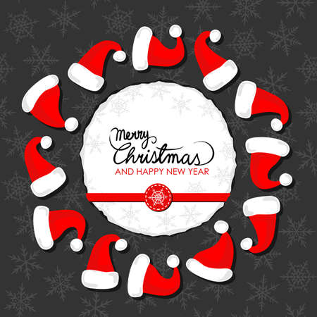 paper hats: red hats of Santa Claus wreath Christmas winter holidays card with round torn paper with Christmas wishes in English red ribbon and snowflake badge on dark background