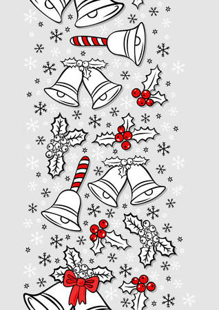 jingle bells: jingle bells Christmas decoration wreath messy seasonal winter holidays card poster vertical border on light gray background Illustration
