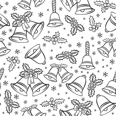 jingle bells: jingle bells Christmas decoration elements messy seasonal winter holidays black and white seamless pattern on white background Illustration