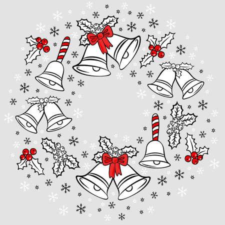jingle bells: jingle bells Christmas decoration wreath messy seasonal winter holidays card poster centerpiece on light gray background