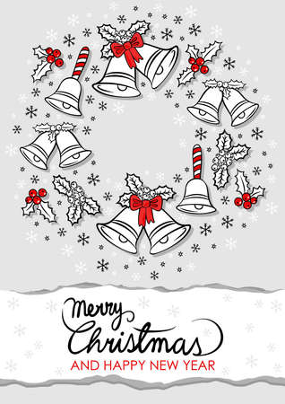 jingle bells: jingle bells Christmas decoration wreath with wishes in English messy seasonal winter holidays card poster centerpiece on light gray background