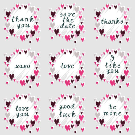 messy: pink hearts on gray background messy romantic wedding love feelings sticker note set