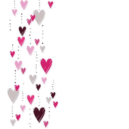 messy: pink hearts on white background messy vertical border romantic Valentines Day seamless pattern Illustration
