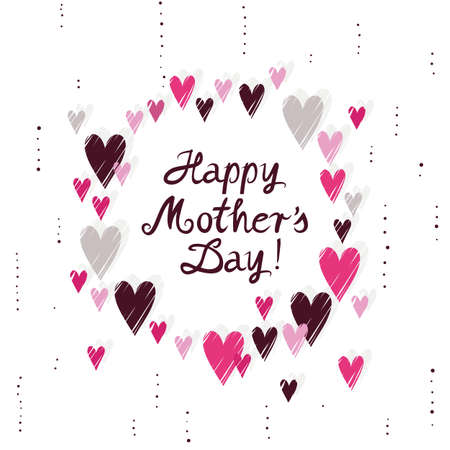 messy: pink hearts wreath on white background messy Mothers Day card poster centerpiece illustration