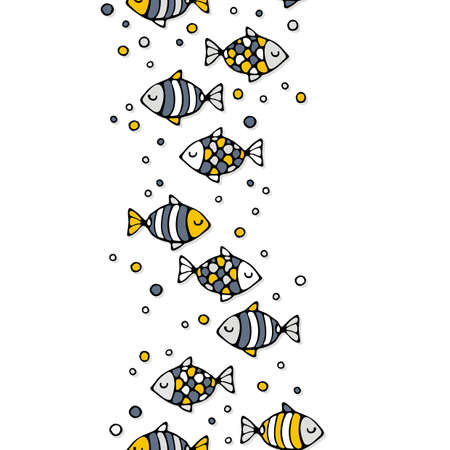 deep sea: deep sea colorful fish on a white background seamless vertical border Illustration