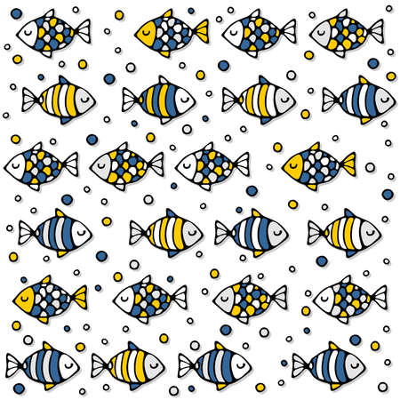 deep sea: deep sea colorful fishes in regular rows on white background seamless pattern Illustration