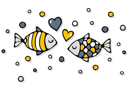 deep sea colorful fishes in love with bubble hearts on a white background abstract cartoon illustration
