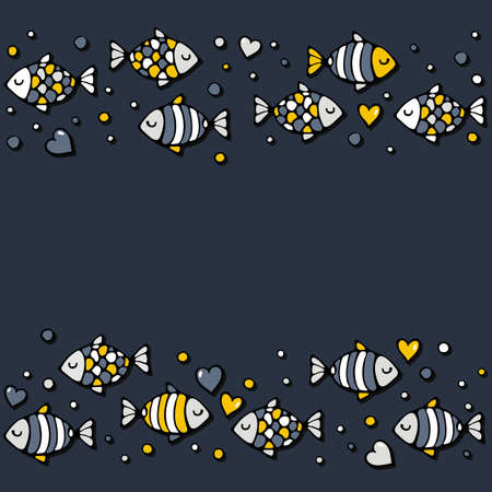 deep sea: deep sea colorful fishes in love with bubble hearts on dark background seamless double horizontal border