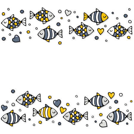 deep sea: deep sea colorful fishes in love with bubble hearts on white seamless double horizontal border