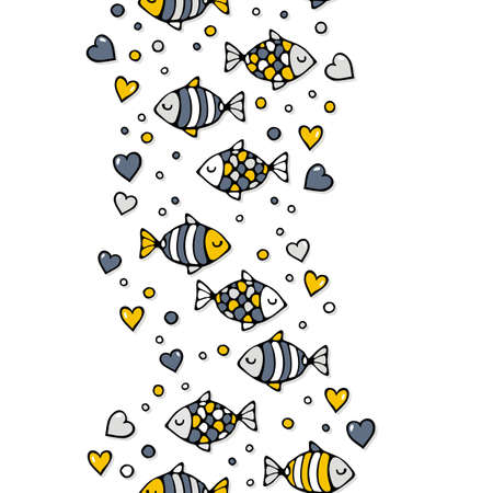 deep sea: deep sea colorful fishes in love with bubble hearts on white seamless vertical border