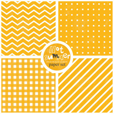 chevron stripes dots checkered sunny yellow white seamless paper wallpaper background set Illustration