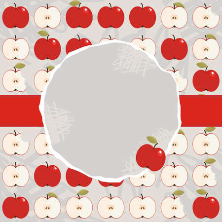 apples whole and half in regular rows food raw healthy fruit autumn seasonal pattern on light background with blank round torn piece of paper with place for your text on red ribbon