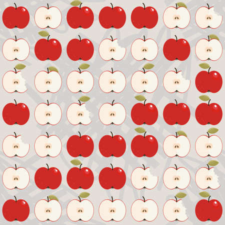 apples whole and half in regular rows food raw healthy fruit autumn seasonal seamless pattern on light background Illustration