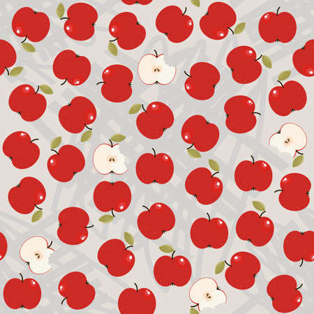 apples whole and half messy food raw healthy fruit autumn seasonal seamless pattern on light background