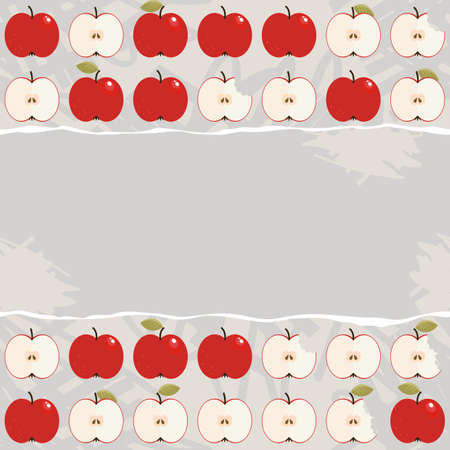 ditch: apples whole and half in regular rows food raw healthy fruit autumn seasonal seamless pattern on light background with torn blank piece of paper horizontal place for your text