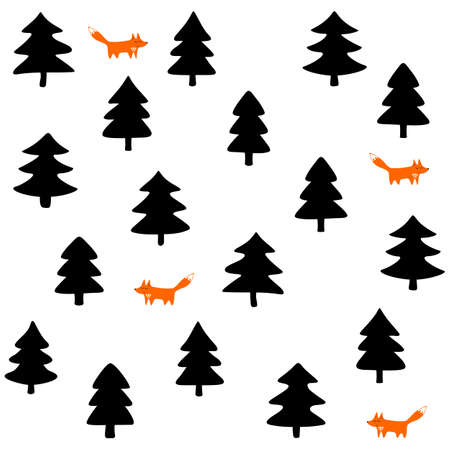 wild life: foxes wild life forest with animals cartoon style seasonal winter seamless pattern on white background