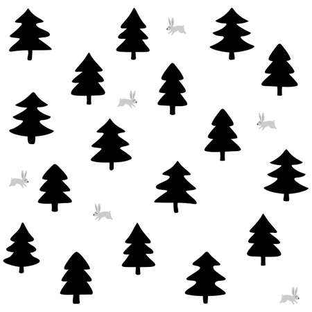 wild life: rabbits wild life forest with animals cartoon style seasonal winter seamless pattern on white background Illustration