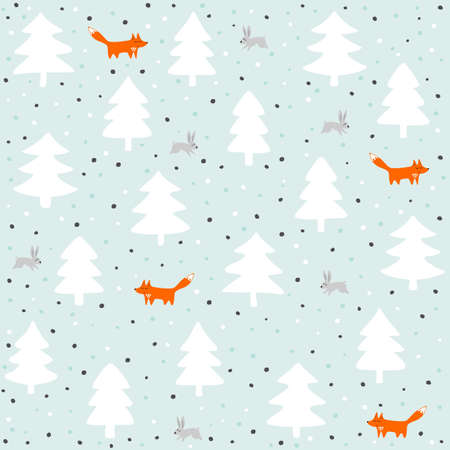 wild life: rabbits and foxes wild life forest with animals cartoon style seasonal winter pattern on pastel mint background