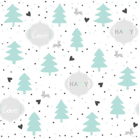 rabbits in love mint pastel turquoise seasonal winter romantic love seamless pattern on white