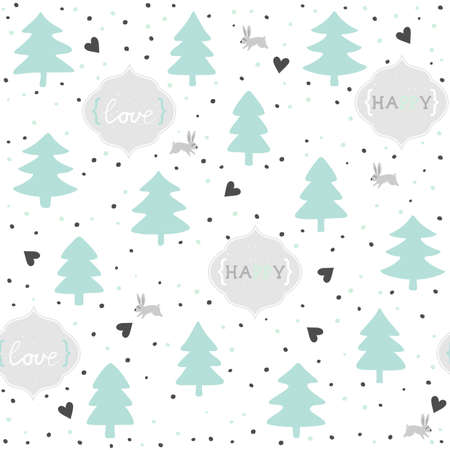 rabbits in love mint pastel turquoise seasonal winter romantic love seamless pattern on white