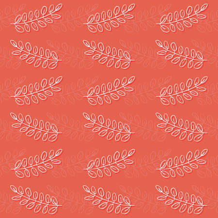 delicate leaves zig zag rows on coral background monochrome graphic spring summer autumn seamless pattern