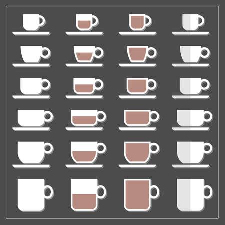 coffee tea cup mug empty half full icon set isolated on dark background Ilustração