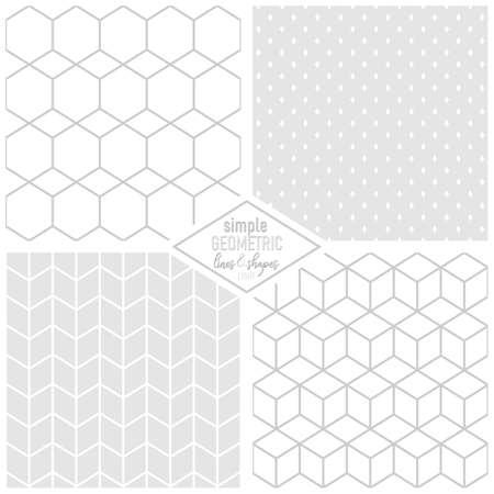 elegant geometric simple lines and shapes hexagons cubes diamonds monochrome light background seamless pattern set