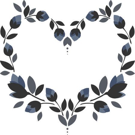 blue flowers gray leaves heart shaped wreath floral illustration isolated on white background Ilustracja