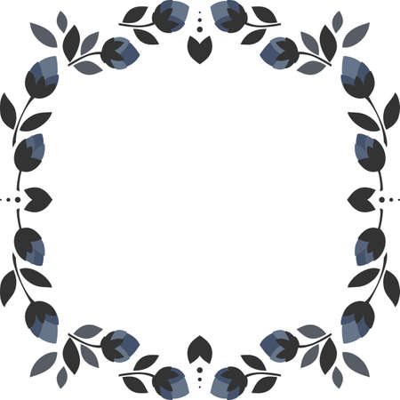 blue flowers gray leaves square wreath floral illustration isolated on white background