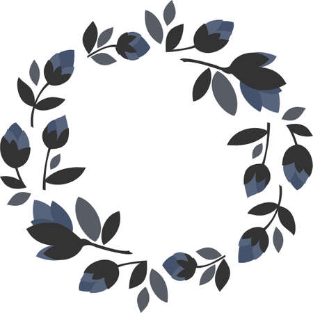 blue flowers gray leaves round wreath floral illustration isolated on white background