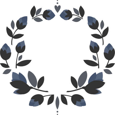 blue flowers gray leaves round shaped symmetrical wreath with hearts floral illustration isolated on white background Ilustracja