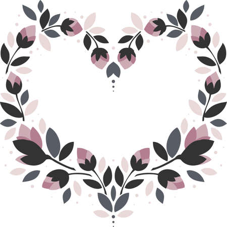 pink flowers gray leaves heart shaped wreath floral illustration isolated on white background