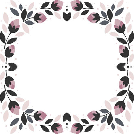 pink flowers gray leaves square wreath floral illustration isolated on white background
