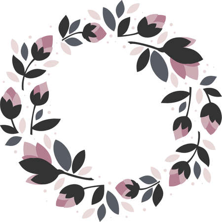 pink flowers gray leaves round wreath floral illustration isolated on white background