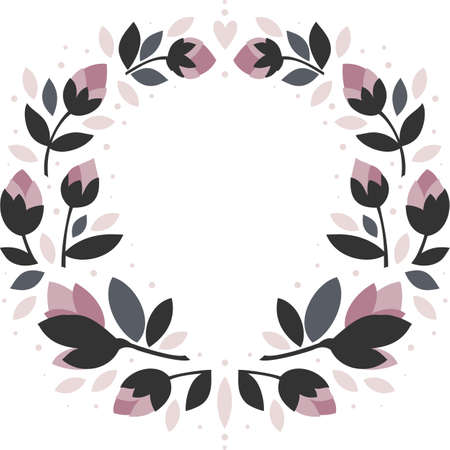 pink flowers gray leaves round shaped symmetrical wreath with floral hearts isolated on white background Ilustracja