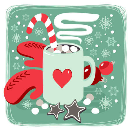 hot cocoa chocolate winter drink with red gloves and gingerbread star cookies card poster winter holiday centerpiece illustration