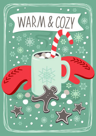 hot cocoa chocolate winter drink with red gloves and gingerbread man cookie vertical card poster winter holiday centerpiece illustration with text