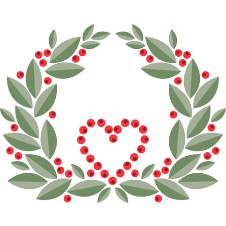 cranberry wreath with leaves, berries and heart shape. Vector illustration. Isolated on white background Illusztráció