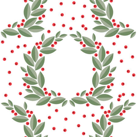 cranberry wreath with leaves and berries. Vector isolated on white background Ilustracja