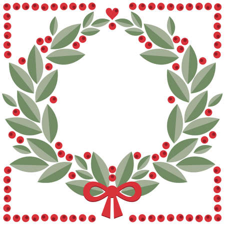 cranberry wreath with leaves, berries, heart shape and red bow vector isolated winter holiday card poster centerpiece illustration isolated on white background