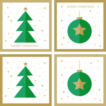 green and gold simple Christmas tree decorated winter holiday gift card set