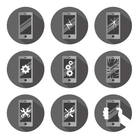 sign symbol mobile phone gray monochrome flat vector round button set settings work broke repair