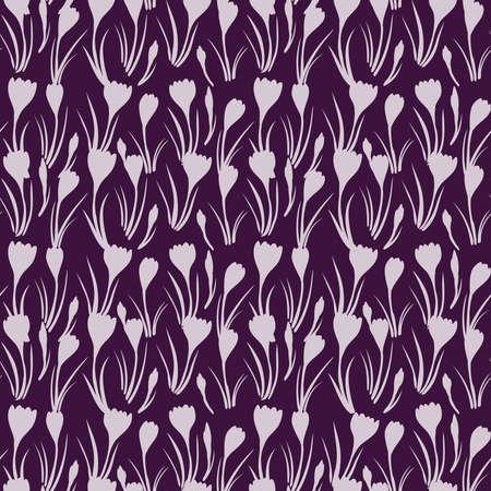 first crocuses delicate silhouettes spring fresh floral botanical seasonal monochrome pink purple seamless pattern