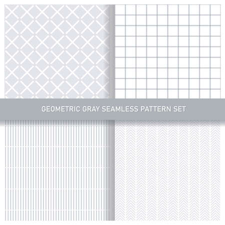 Vector geometric seamless pattern set. Squares, lines, stripes. Gray and white, elegant, minimal, modern, abstract, simple vector background pack. For textiles, wallpapers, webdesign.