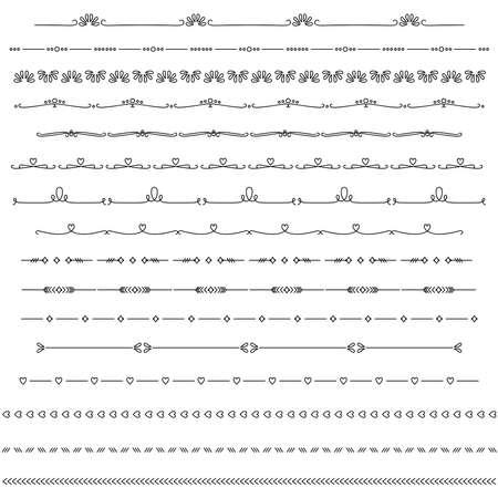 Text dividers. Vector typographic line divider set. Graphic text separators.