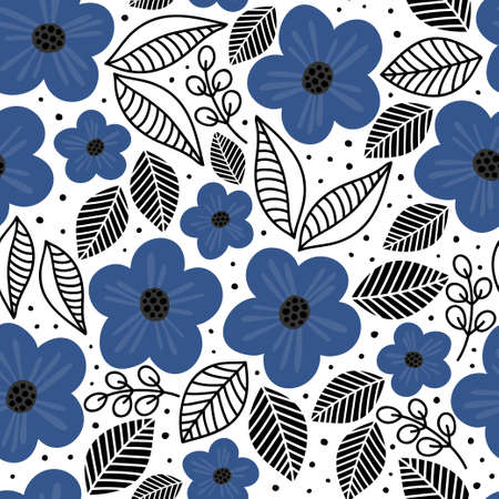 blue flowers black linear leaves spring summer fresh botanical textured seamless pattern on white background